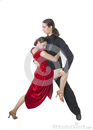 Young couple dancing tango