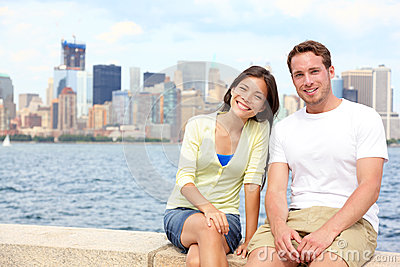 Young couple dating in New York