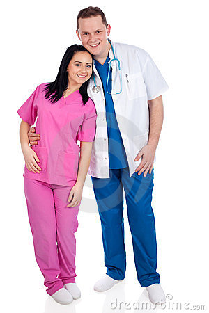 Young couple of doctor and nurse