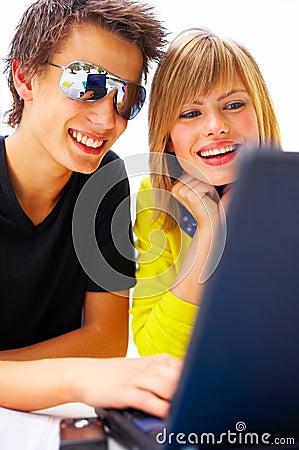 Young couple doing homework