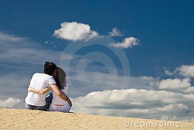 Young couple on the dunes