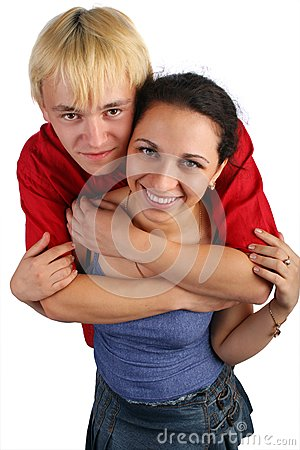 Young couple embraces top view