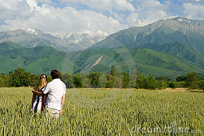 Young couple enjoing beauty of nature