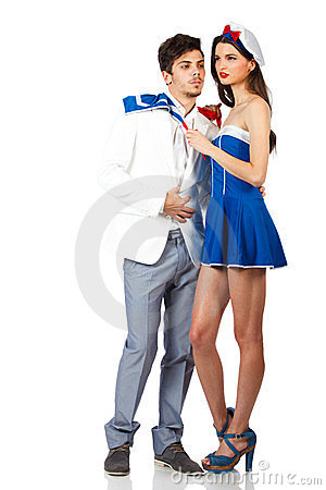 Young couple enjoy roleplay in sailor uniform