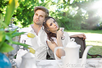 Young couple enjoying coffee