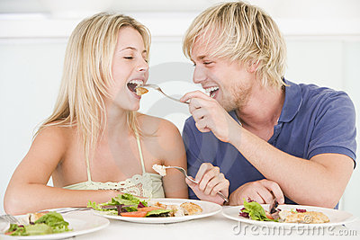 Young Couple Enjoying Meal