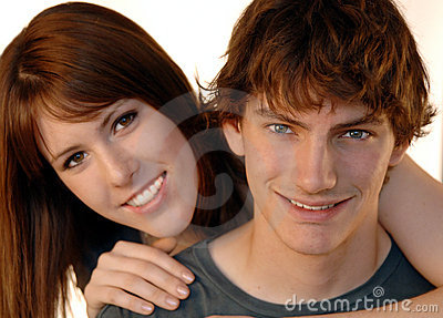 Young couple faces