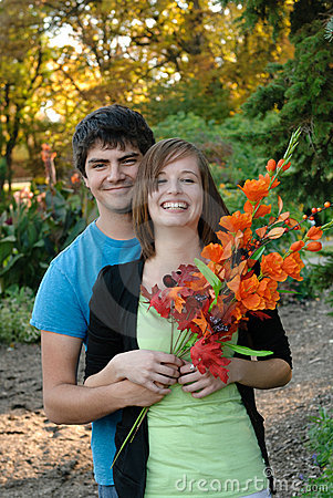 Young Couple In The Fall