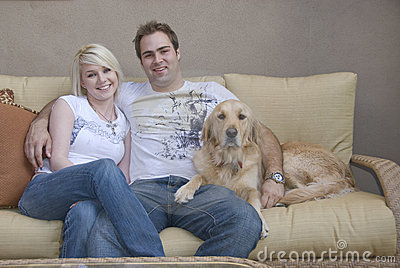 Young couple with Family pet