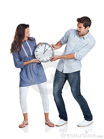Young couple fighting over time