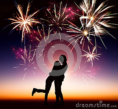 Young couple with fireworks