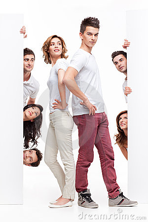 Young couple and friends advertising