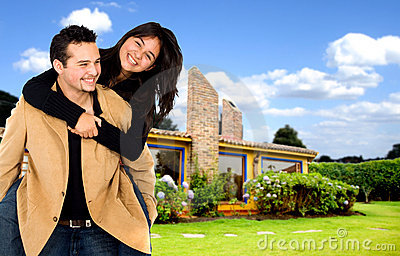 Young couple having fun home