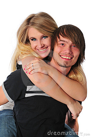 Young couple having fun and smiling