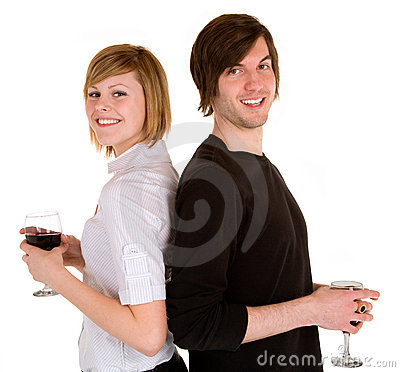 Young Couple Having Red Wine