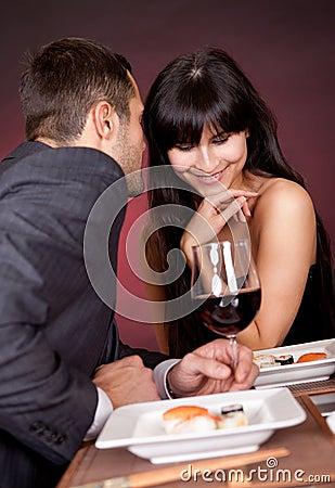 Young couple having romantic conversation