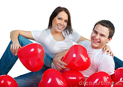 Young couple with a hearts