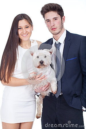 Young couple safe pet dog