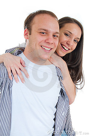 Young Couple Hugging and Smiling
