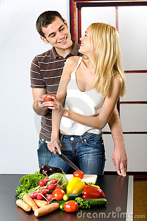 Young couple at the kitchen