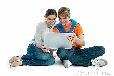 Young couple with a laptop