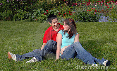 Young couple on a lawn