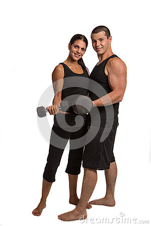 Young Couple Lifting Weights Isolated