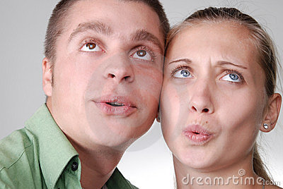 Young Couple Looking Happily Into The Distance Stock Image - Image: 11034181
