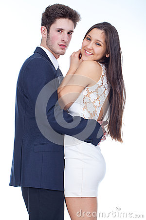 Young couplelooking happy