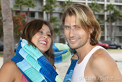 Young couple in love at the beach