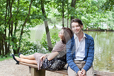 Young couple in love in forest