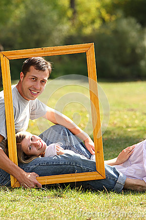Couple in love in the frame