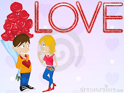 Young Couple in Love. Happy Valentine s Day Card.