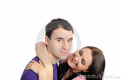 Young couple in love having fun. isolated