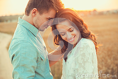 Young couple in love outdoor.Couple hugging.
