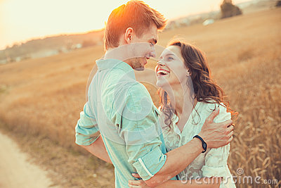 Young couple in love outdoor.Couple hugging