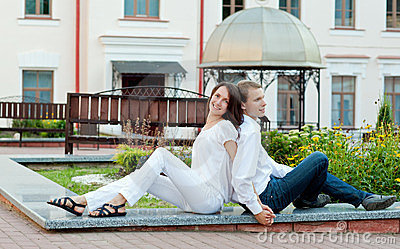 Young couple in love in a park