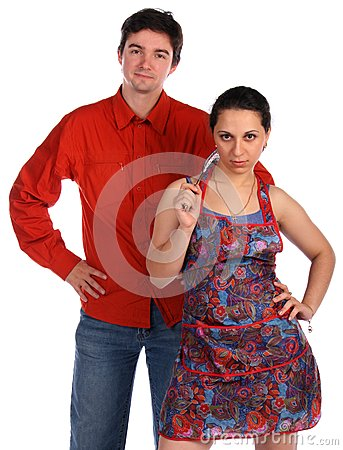 Young couple. Man and housewife.
