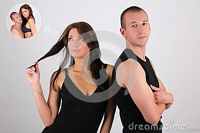 Young couple man and woman over white