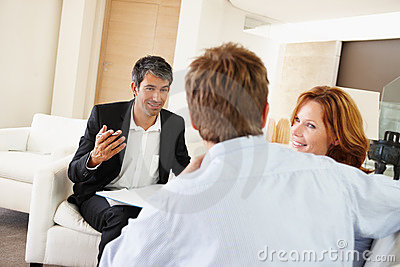 Young couple in meeting with investment consultant