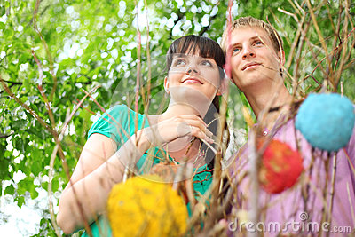 Young couple near branch