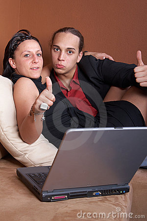 Young couple online