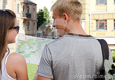 Young couple planning their sightseeing