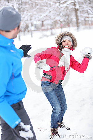 Free Young Couple Playing In The Snow Stock Image - 26942361