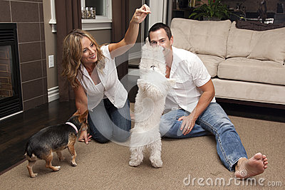 Young couple plays with their pet dogs