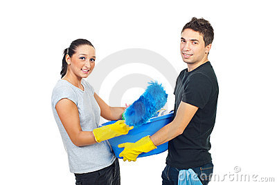 Young couple preparing for clean house