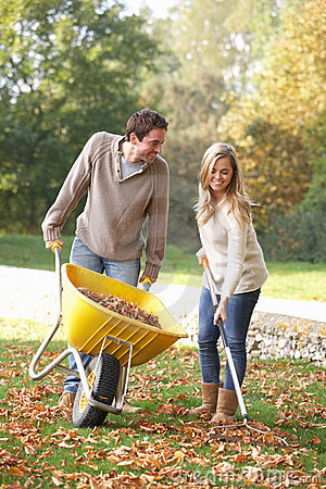 Free Young Couple Raking Autumn Leaves Royalty Free Stock Photos - 18043808