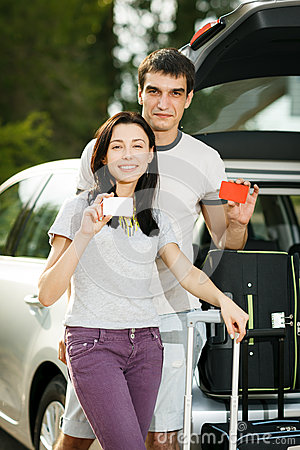 Young couple ready for road trip