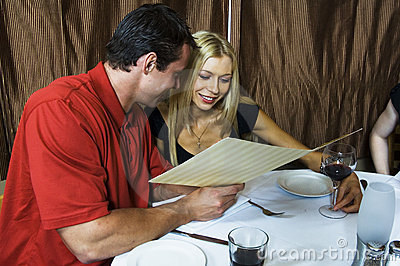 Young couple in the restaurant