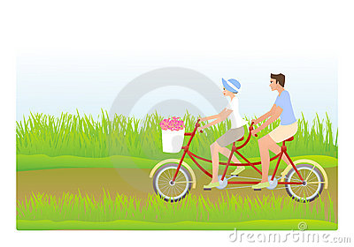 Young couple riding tandem